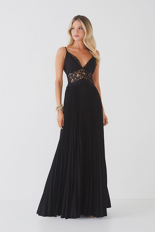Vestido longo plissado Fabulous Agilità Gabriela preto