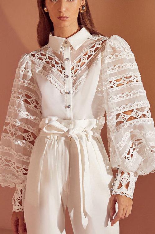 Camisa organza renda off white Skazi Sclub