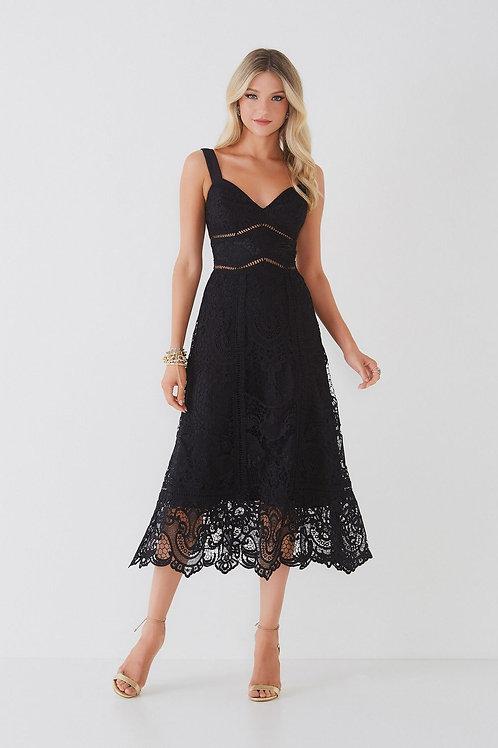 Vestido midi Marta preto em renda Fabulous Agilità