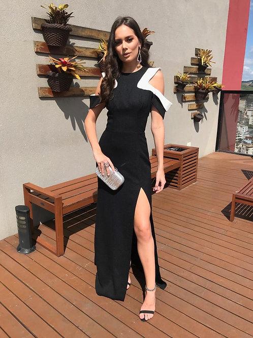 Vestido Longo P&B detalhe fenda - Skazi