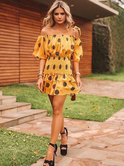 Vestido curto estampa poa Skazi Thassia Naves