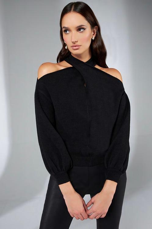 Blusa em tricot detalhe no torcido preto Skazi