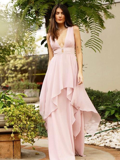Vestido longo rosa claro camadas PatBo