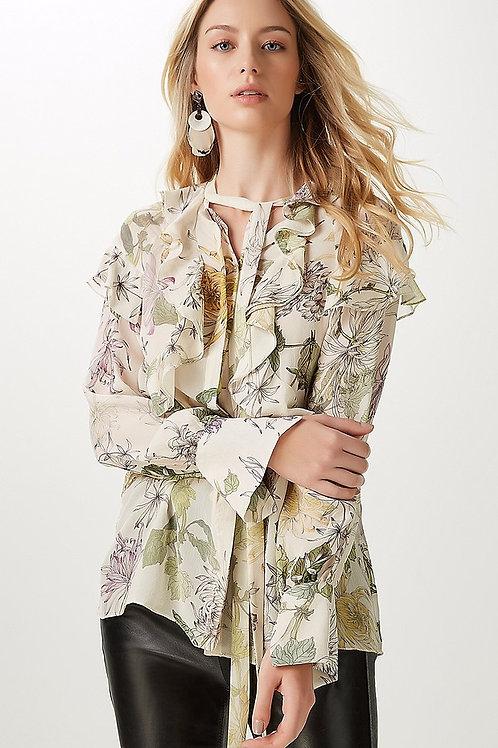 Camisa de seda floral babados com laço Animale
