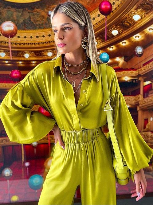 Camisa cetim citronela Thassia Naves- Iorane