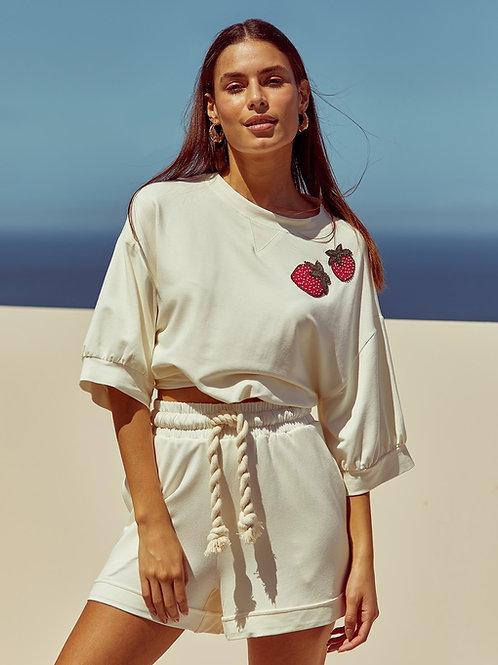 Conjunto blusa e short morango bordado off white Skazi Sclub