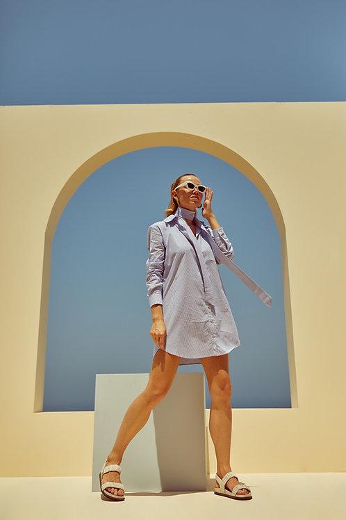 Vestido chemise listrado azul Skazi Sclub