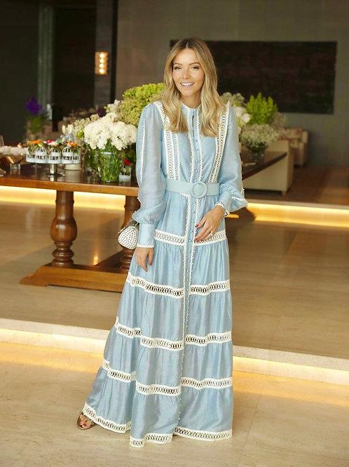 Vestido longo detalhes pérolas bordadas azul claro Skazi Sclub
