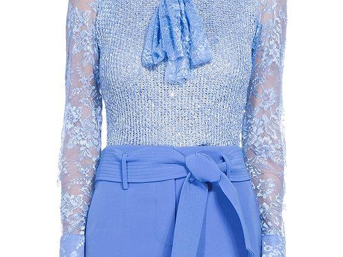 Blusa de casaquete mangas de renda Carol Bassi modelo Floridian - Azul claro