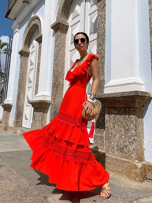 Vestido longo detalhe babados decote costas vermelho Skazi Sclub