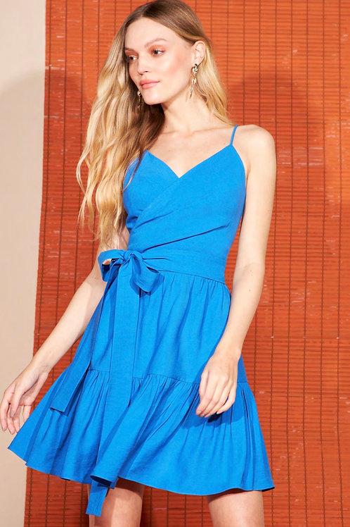 Vestido curto detalhe faixa azul Skazi Sclub