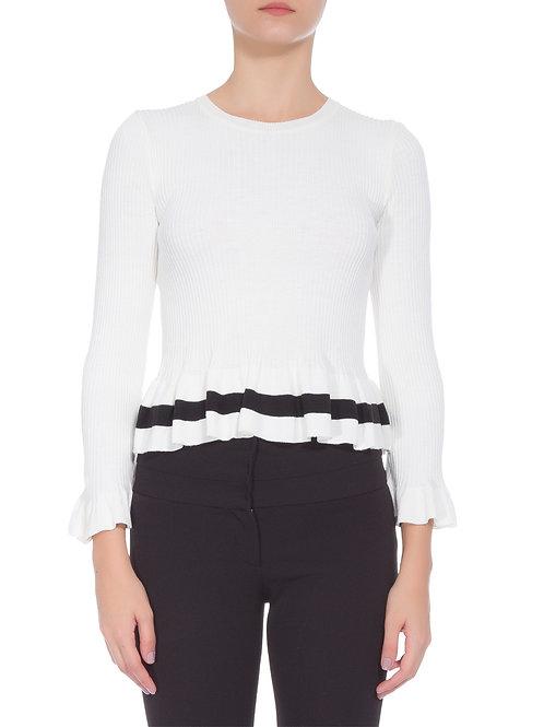 Blusa Animale Tricot Listra - Branco bazar