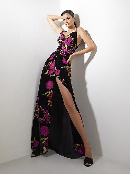 Vestido longo veludo devorê floral Skazi Sclub
