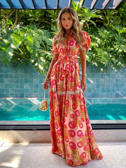 Vestido longo detalhe passamanarias estampa Manzan Thassia Naves