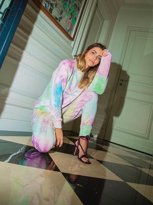 Conjunto de calça e blusa em moletom tie dye cotton candy rainbow TIG
