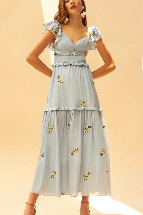 Vestido midi detalhes bordados em linha flores azul claro Skazi Sclub