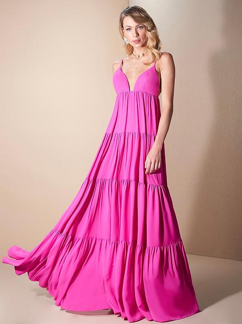 Vestido longo alça pink Skazi