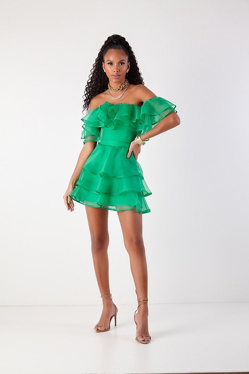 Vestido curto Talita verde organza Fabulous Agilità