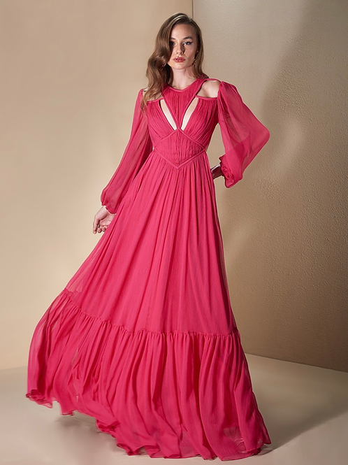 Vestido longo drapeado pink recortes busto chiffon Skazi