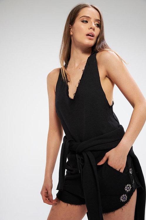 Conjunto short e blusa bordados moletom Mari preto Charth