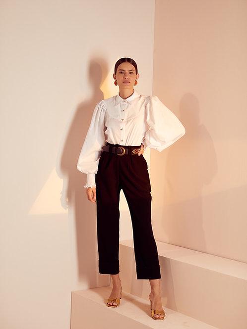 Camisa manga com lastex tricoline branca Skazi