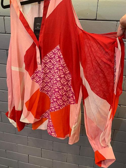 Camisa de seda decote v estampa origami Animale