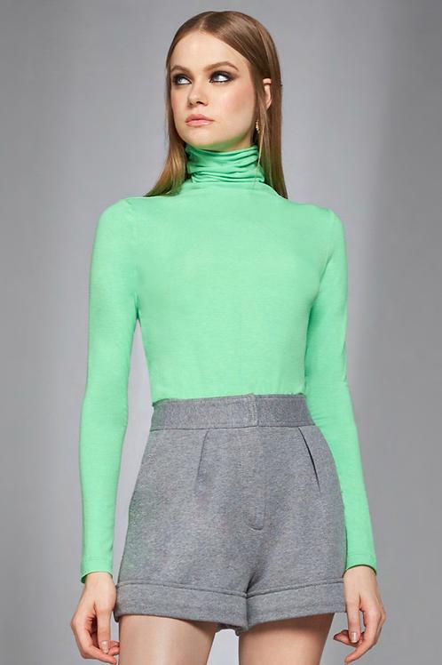 Blusa basic manga gola alta verde neon Skazi Sclub