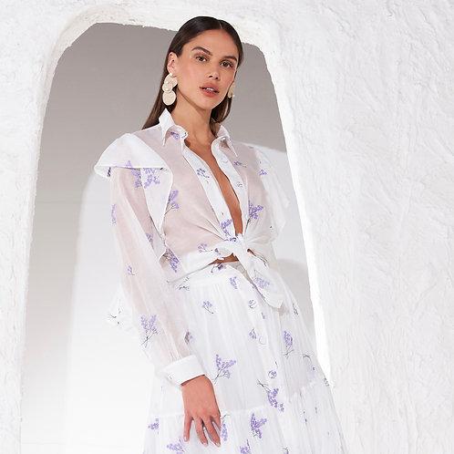Camisa bordada com linhas lavanda off white Skazi