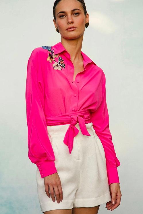 Camisa com detalhes bordados pink PatBo