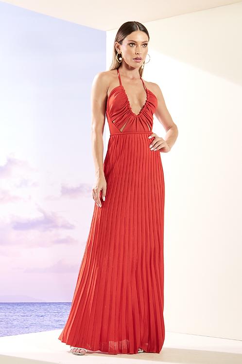Vestido decote vazado plissado em tricot bandagem vermelho Skazi