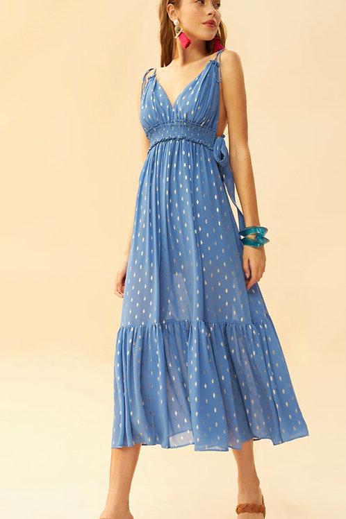 Vestido midi detalhes bordados em lurex azul claro Skazi Sclub