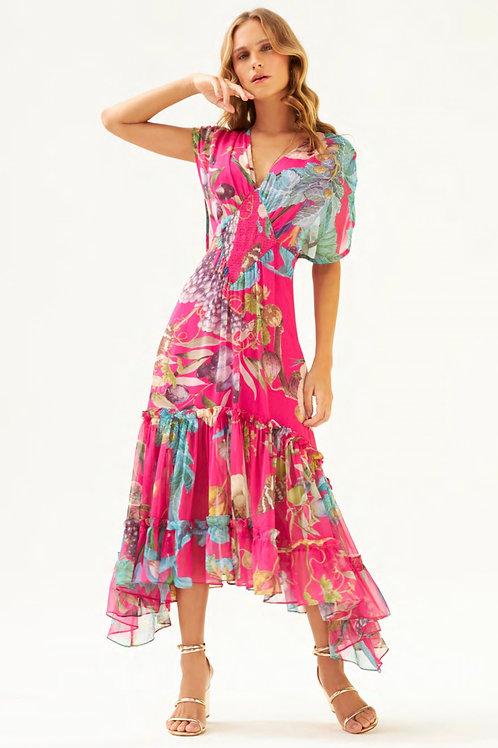 Vestido estampa floral detalhe cintura Skazi Sclub