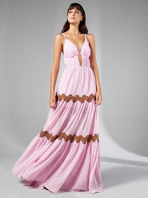 Vestido longo rosa texturizado com renda Skazi Sclub