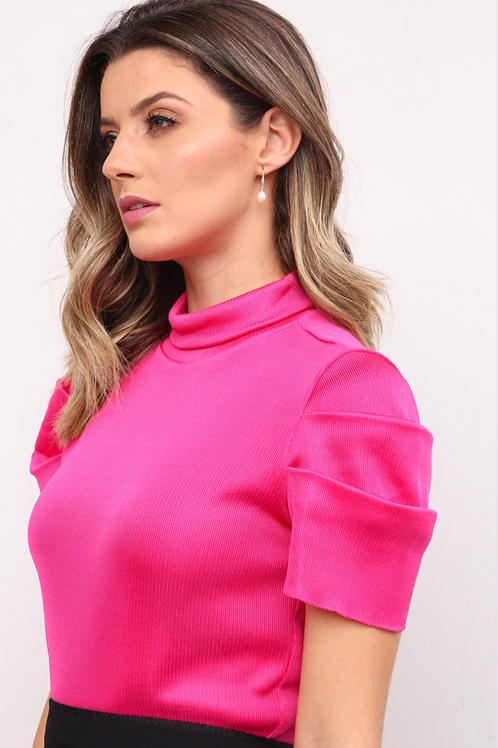 Blusa manga bufante tricot pink Skazi