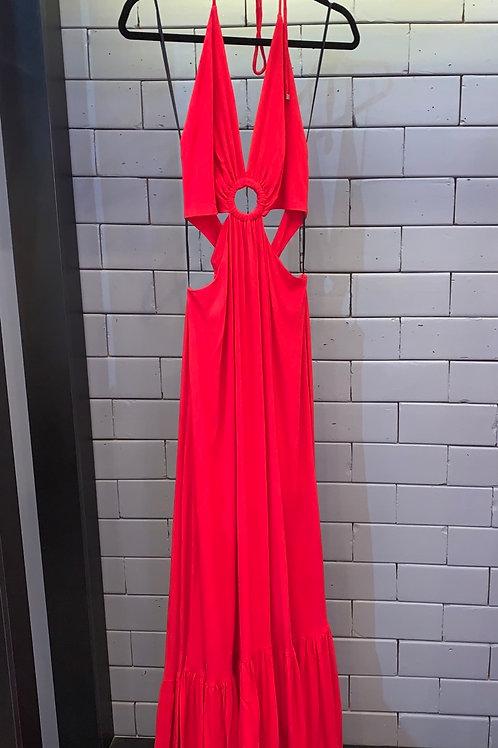 Vestido recortes vermelho PatBo