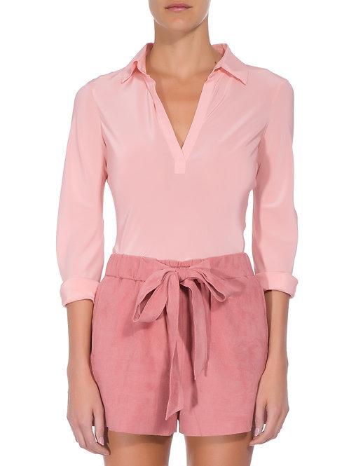 Camisa Polo de Seda Rosa Animale