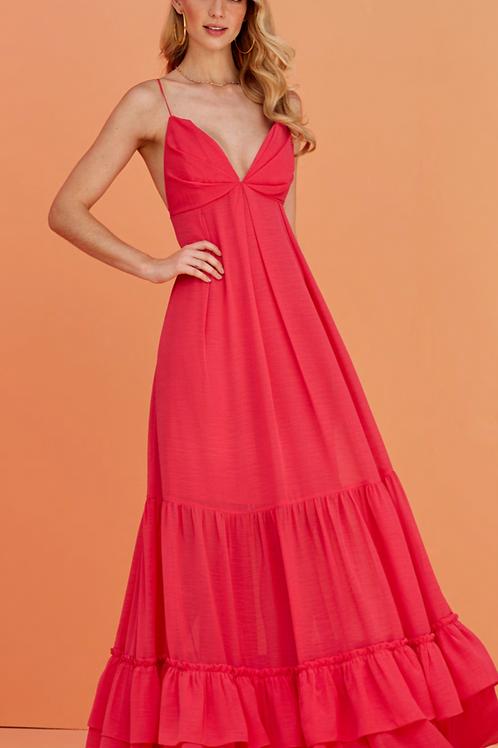 Vestido longo decote costas rosa Skazi