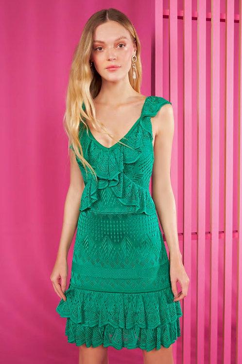 Vestido curto tricot babados verde Skazi Sclub
