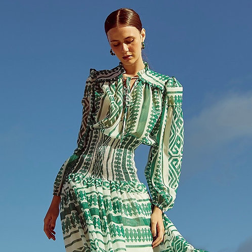 Blusa estampa Marrocos Skazi Sclub verde e branco