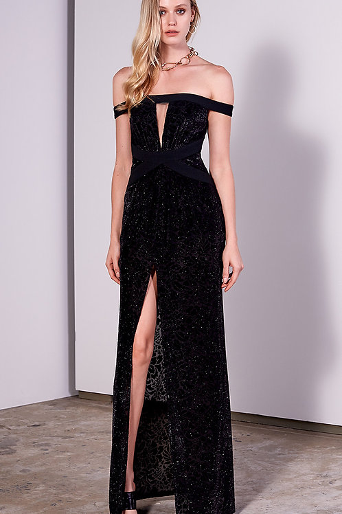 Vestido longo veludo devorê fenda decote gliterizado Skazi preto