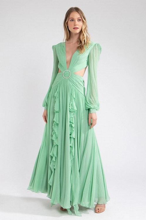 Vestido longo em seda pura recortes fivela cristais PatBo verde agua