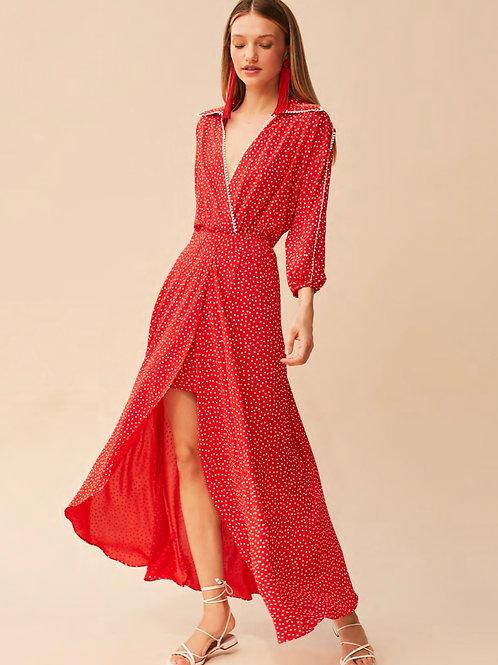 Vestido decote poá vermelho Skazi Sclub