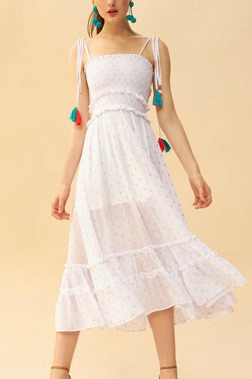 Vestido midi lastex bordado em lurex off white Skazi Sclub