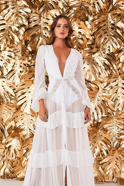 Saída de praia vestido branco babados Fabulous Agilita