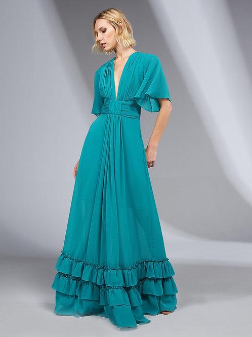 Vestido longo detalhe drapeado verde esmeralda Skazi Sclub