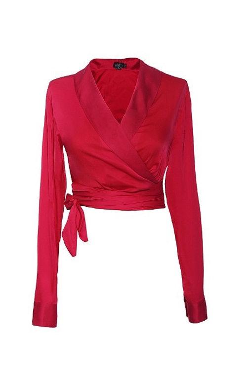 Blusa wrap cetim sensorial lanvin rosa pink PatBo