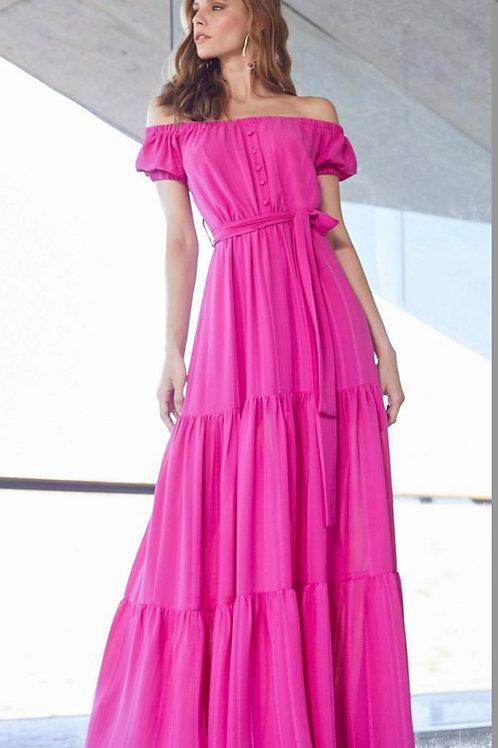 Vestido longo ombro a ombro pink Skazi Sclub