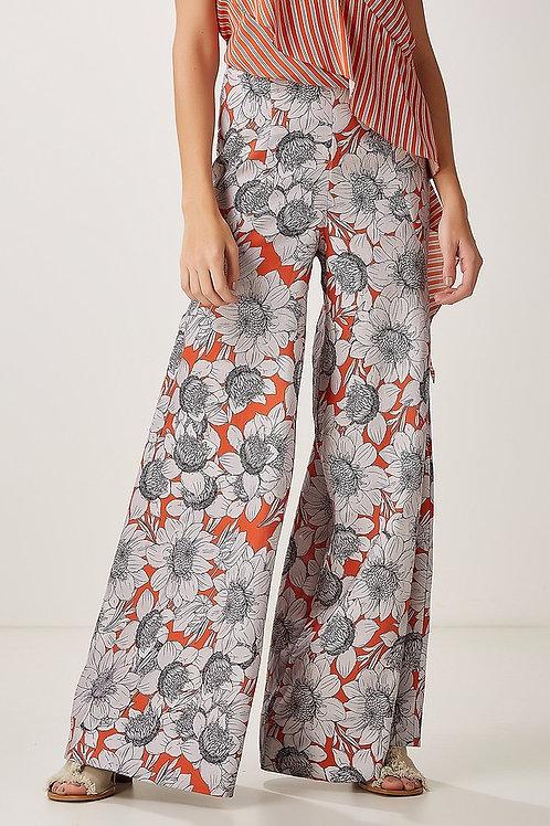 Calça pantalona floral em linho Animale bazar
