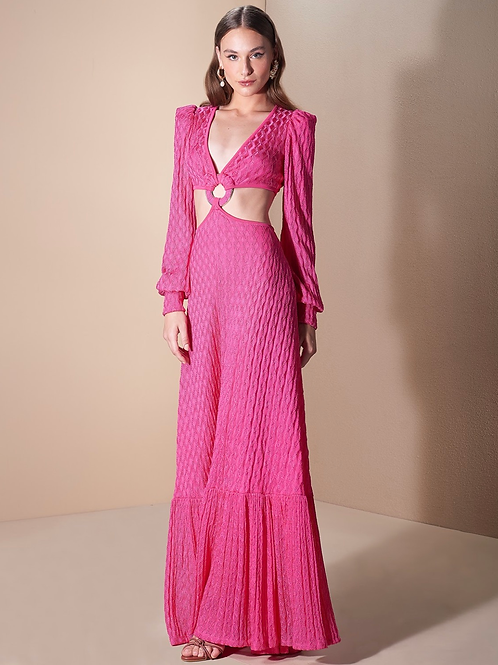 Vestido longo em tricot pink fivela redonda Skazi