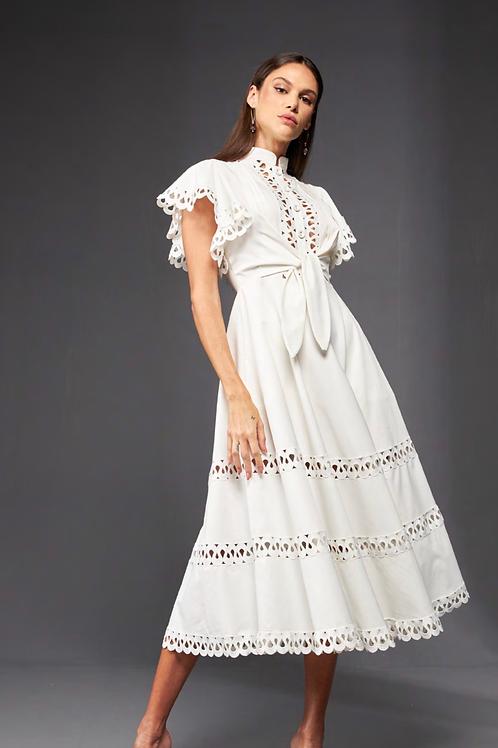 Vestido midi off white detalhes em guipir Skazi Sclub